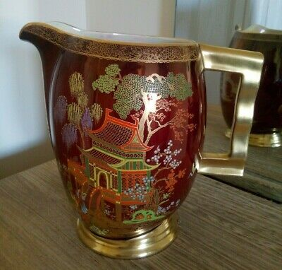 Beautiful Large Art Deco  CarltonWare Rouge Royale Jug - Mikado Pagoda Pattern • 9.99£