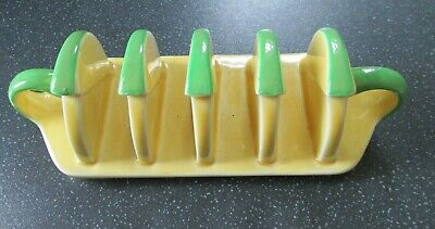 Vintage 1930`s Carlton Ware Toast Rack Yellow And Green 6.5  Long X 2.5  • 9.99£