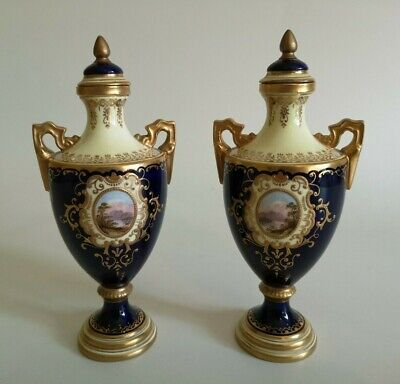 Lovely Pair Of Coalport Hand Painted Topographical Cobalt Blue Vases V5327 • 28£