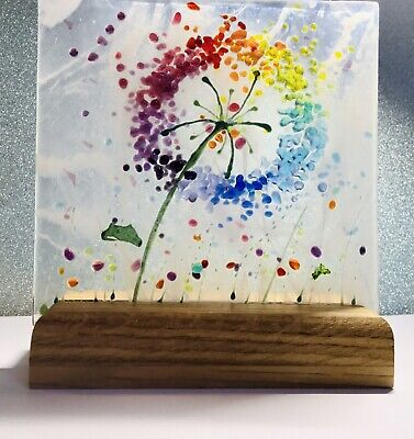 Rainbow Allium Flower Meadow Fused Glass 3D Sun-catcher Picture &  Wooden Stand • 14.99£