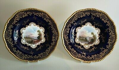 Lovely Pair Coalport Hand Painted Topographical Cobalt Blue Plates Signed Taylor • 12.50£