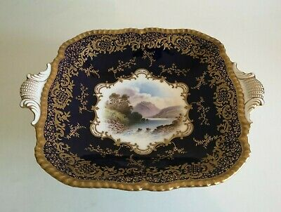 Coalport Hand Painted Topographical Cobalt Blue Tazza Signed Perry. Hawthornden • 21£