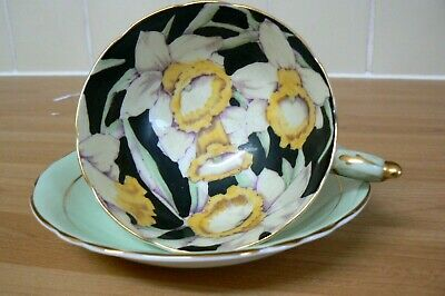 Vintage / Antique Paragon Cup & Saucer Daffodil Black Green Double Warrant 3# • 39.99£