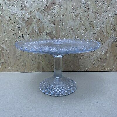 Vintage Pressed Glass Footed Cake Plate / Stand - 21cm Dia X 13cm - Wedding • 4.99£