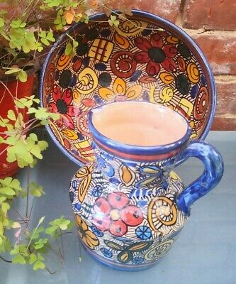 Vintage Spanish Or North African Colourful Hand Painted Pottery Jug And Bowl • 4.99£