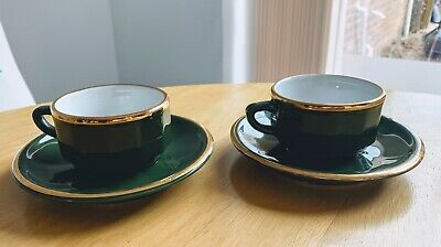Apilco Green And Gold Coffee Cups Saucers French Fancy • 16£