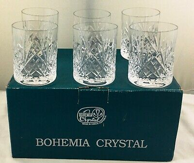 Bohemia Crystal Czech Republic - 6 X Whisky Tumblers Glasses - Boxed - 9.8cm • 59.99£