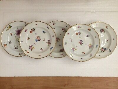 Meissen Porcelain Set Of Five Superbly Painted Flowers & Insects Plates  • 9.99£