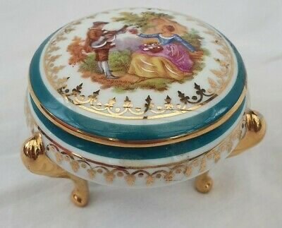 Limoges Porcelain Trinket Dish With Legs French • 4£