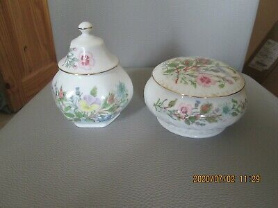 Two Aynsley Wild Tudor Porcelain Lidded Trinket Bowls • 5.99£