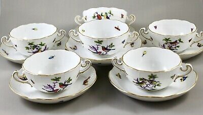 HEREND PORCELAIN ROTHSCHILD BIRD ROM CREAM SOUP COUPES & SAUCERS X 6 718 • 395£