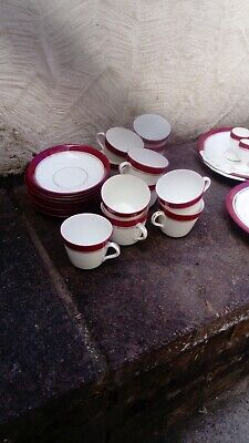 Victorian Crimson Banded Breakfast Part Set,nice Condition,all Listed • 10£