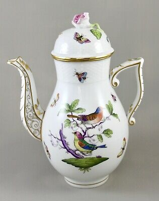 Herend Porcelain Rothschild Bird Rom Multicolour Large Coffee Pot 611 • 250£