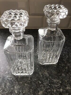 Pair Of Vintage Cut Glass Whiskey / Brandy Decanters With Stoppers • 30£