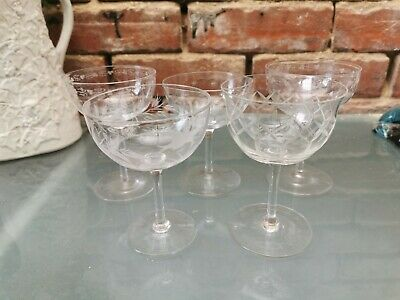 Five Vintage Antique Etched And Cut Glass Champagne Bowls 11cms To 12.5cms • 39.99£