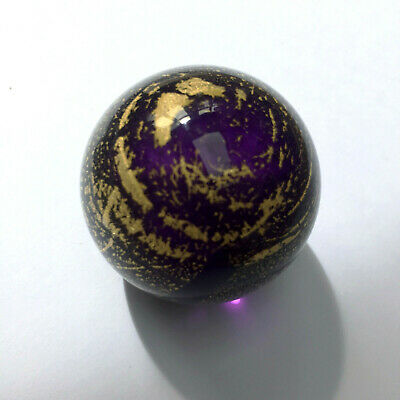 Etched TVG Teign Valley Glass Art Large Marble Paperweight Signed Gold & Purple • 8.95£
