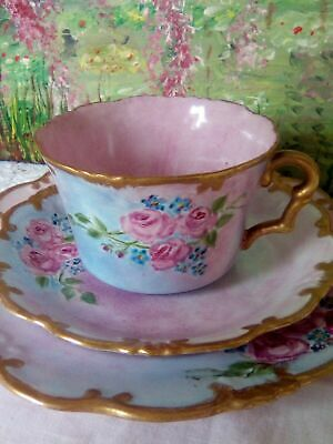 Rare Collingwood Hand Painted Floral Roses Pink Blue Gold Trio  • 75£
