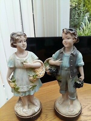 Rare Pair Of Large 1960s  Bisque/ Chalk Pottery  Figures . • 20£