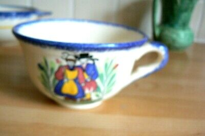 France Faience Large Tea Cup Hand Painted Floral Breton Man & Woman • 2.50£