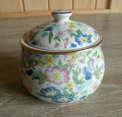 Vintage Very Pretty Staffordshire Pottery Floral Dressing Table / Trinket Pot 3  • 5£