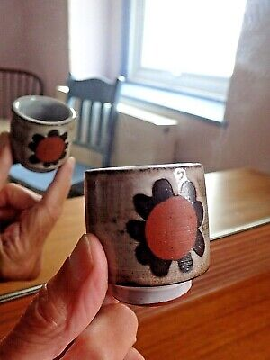 Vintage BRIGLIN POTTERY Eggcup Flower Majolica Marked GB Design Mid Century   • 6£