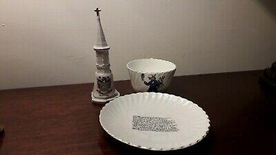 EARLY 1900's 3 PIECES OF CRESTED CHINA   BANBURY CROSS & TRUSTY SERVANT  . • 8.99£