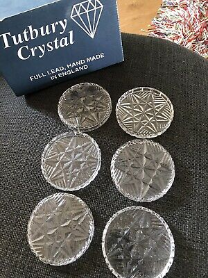 Tutbury Crystal 6 Glass Coasters • 4.20£