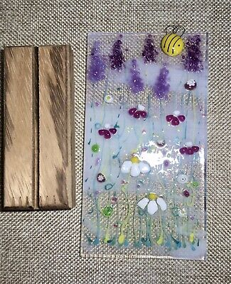 Unique Handmade Bright Cheerful Honey Bee Flower Meadow Fused Glass Sun Catcher • 17.50£