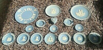 *** WEDGWOOD BLUE JASPERWARE COLLECTION OF 16 X PIECES - Free UK Postage *** • 69.99£