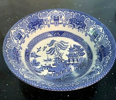Two Gld Willow Pattern 9 Inch Bowls • 2£