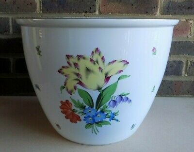 HEREND Very Large Hand Painted Floral Design Cache Pot / Planter 7300 • 99.99£