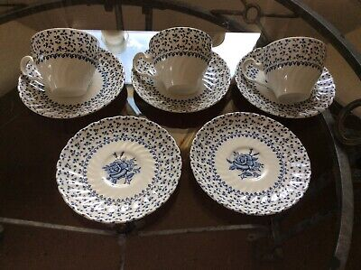 ROYAL VICTORIA IRONSTONE ROSE BOUQUET TEA CUPS X 3 And SAUCERS X 5 • 5£
