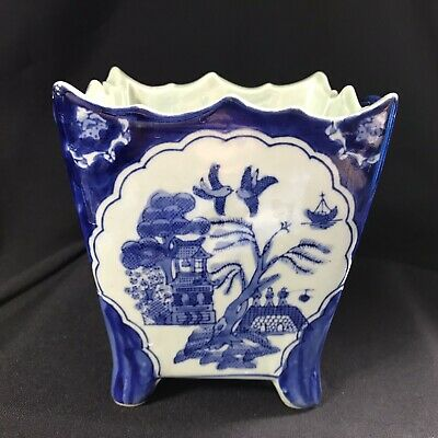 Vintage Mid Century Chinese Willow Pattern Blue White Four Footed Vase Planter • 10£