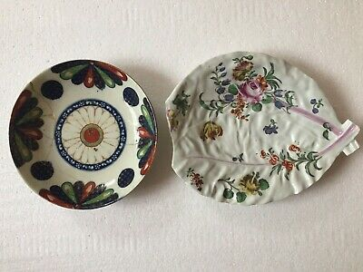 Worcester Porcelain Pair Of 18th Century Dishes - Nicely Decorated C1760 & C1780 • 9.99£