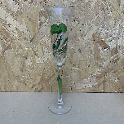 Hand Painted Glass Champagne Flute - Green & Gold Clover Leaf - 27.5cm • 3.50£