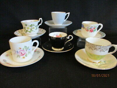 Vintage English China Mismatched Coffee Cups And Saucers X 6  • 12.50£