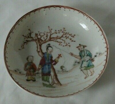 Charming 18th C Antique Prob Chinese Saucer Bowl Famille Palette FIGURES • 30£