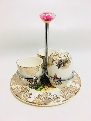 VINTAGE MAYELL ENGLAND  GILT CHINTZ 2 EGG CUP & SALT SET Hunting Theme • 12.95£