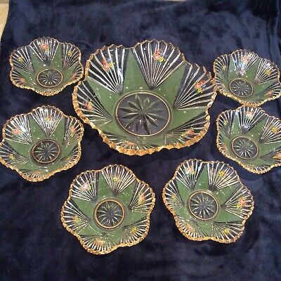 Vintage Art Deco Style 1930s CUT Glass Fruit Trifle Large Bowl 6 Dishes Flowers • 79.99£