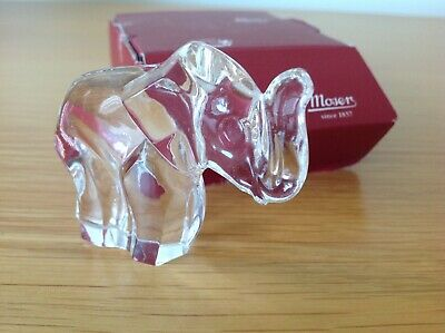 Quality MOSER Czech Glass Contemporary ELEPHANT In Clear Glass BOXED • 4.50£