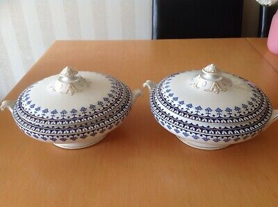 Vintage Unity Serving Dishes. Blue, White And Gold Pattern. 12 X6 . • 7.99£