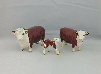 Beswick Cattle Family Hereford Bull, Cow & Calf • 250£
