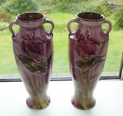 Antique Lemon And Crute Torquay Pottery Pair Pink Finch Large Vases C1916 36cm  • 55£