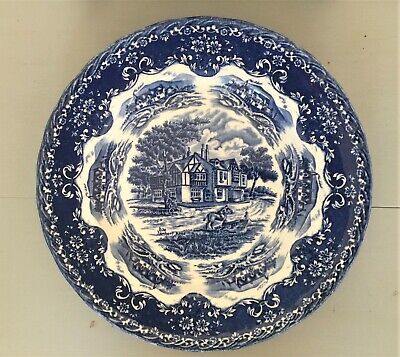 Set Of Six Blue & White Vintage W.H.Grindley English Country Inns Dinner Plates • 40£