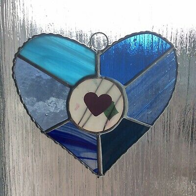 Stained Glass Multicoloured Heart Sun Catcher • 14£