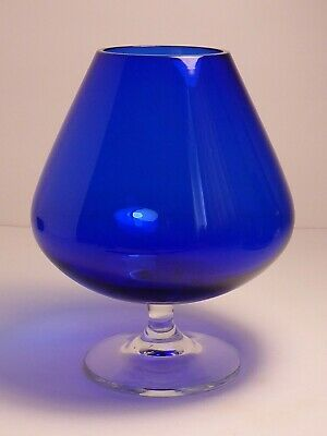 Charming Vintage Blue Cobalt 6  Brandy Glass With Clear Stem & Foot Hand Blown  • 13.75£