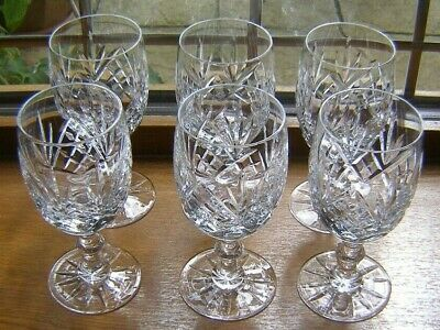 Beautiful Set 6 Heavy Good Quality Crystal Red Wine Glasses 14.3cm X 6cm Vguc • 35.99£