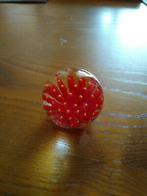 Glass Paperweight With Red Petals • 2.38£