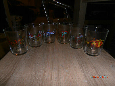 Vintage French Dinking Glasses Set - 6 X Different Horse Drawn Carriages  • 16.99£