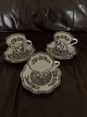 3 X Vintage Coalport Indian Tree Coffee Cups And Saucers • 15£